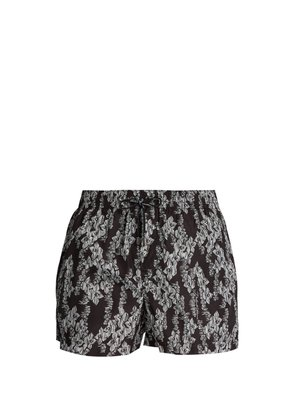 Hawaiian-print swim shorts