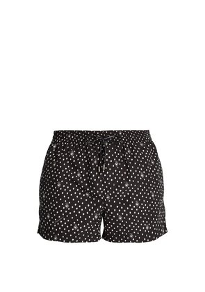 Polka-dot heart-print swim shorts