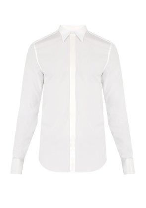 Double-cuff satin-trimmed cotton shirt