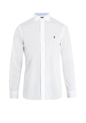 Spread-collar single-cuff cotton shirt