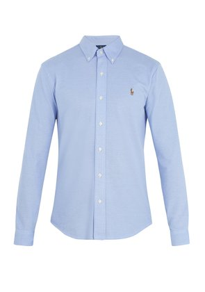 Oxford logo-embroidered cotton-piqué shirt