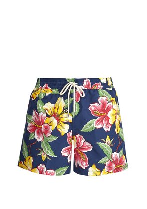 Logo-embroidered floral-print swim shorts