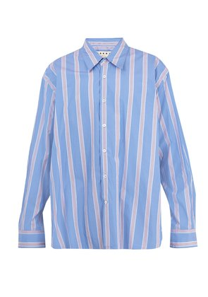 Oversized striped-cotton shirt