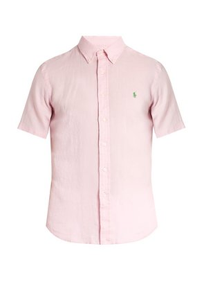 Button-down collar short-sleeved linen shirt