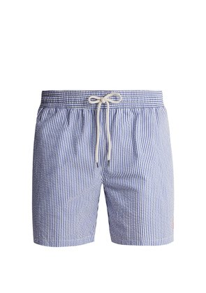 Striped cotton-blend seersucker swim shorts