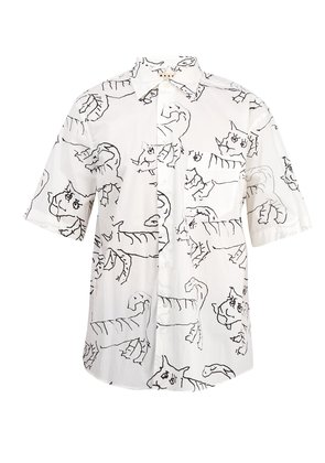 Illustrated cat-print cotton shirt