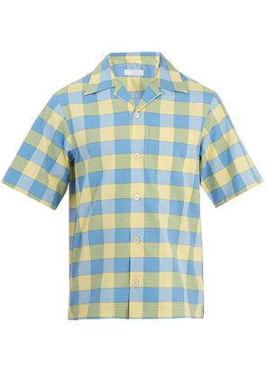 Point-collar checked cotton bowling shirt