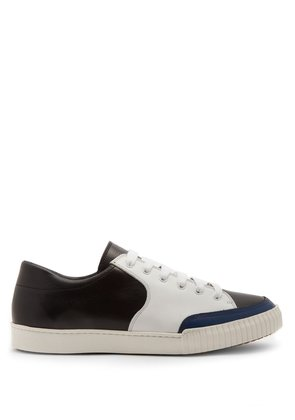 Bi-colour low-top leather trainers