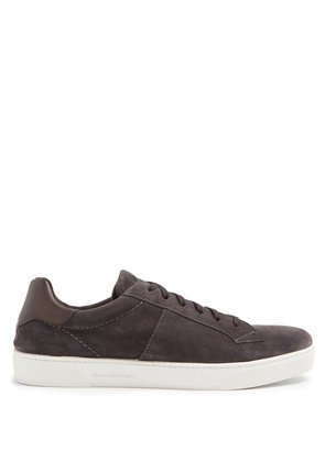 Vittorio contrast-panel low-top suede trainers