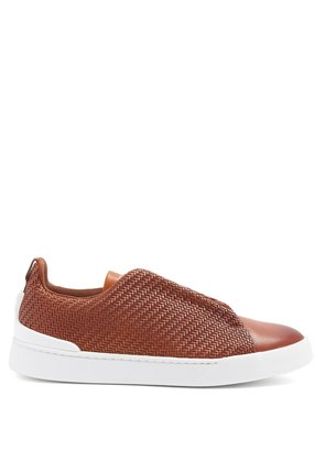 Triple Stitch low-top leather trainers