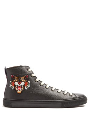 Embroidered high-top leather trainers