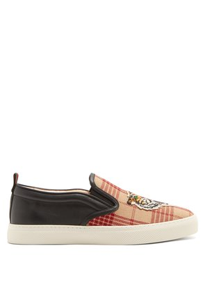 Tiger-embroidered slip-on canvas trainers