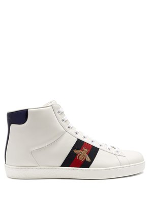 Ace bee-embroidered high-top leather trainers