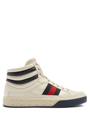 Web-striped high-top leather trainers