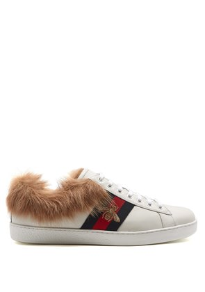 Ace bee-embroidered wool and leather trainers