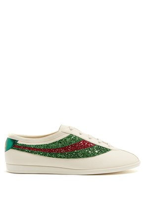 Falacer glitter-embellished leather trainers