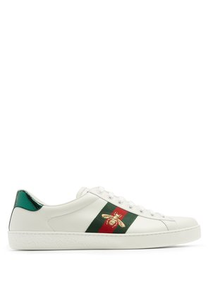 Ace bee-embroidered low-top leather trainers