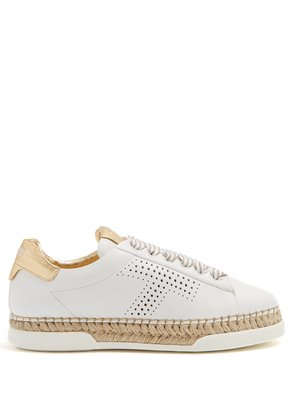 Gomma raffia-espadrille leather trainers
