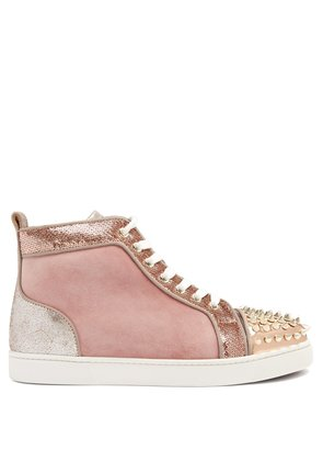 Lou 25 stud-embellished suede high-top trainers