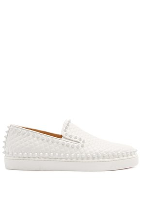 Pik Boat embossed-leather slip-on trainers