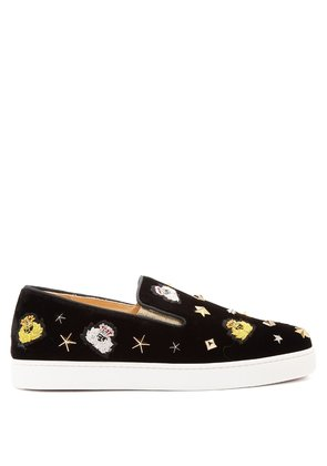 Miss Academy crest-embroidered velvet trainers
