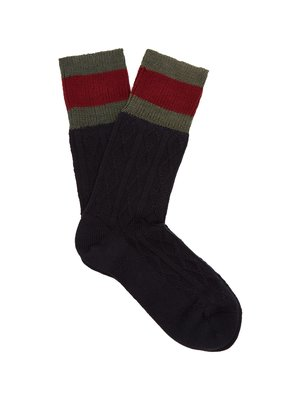 Web-striped cable-knit wool-blend socks