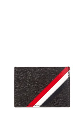 STRIPES PEBBLED LEATHER CARD HOLDER