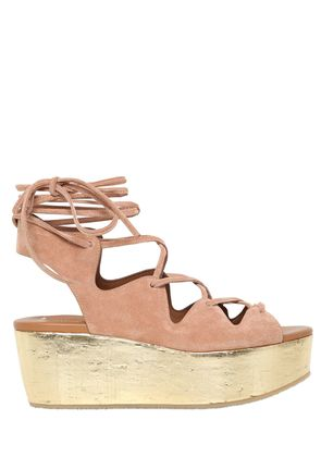 70MM SUEDE LACE-UP WEDGES