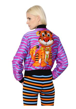 TIGER STRIPES PRINT TWILL BOMBER JACKET