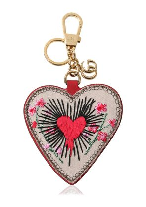 EMBROIDERED HEART GG SUPREME KEY HOLDER