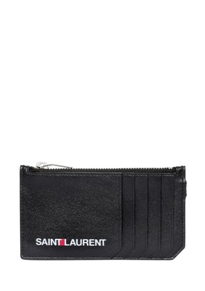 LOGO PRINTED ZIP LEATHER WALLET