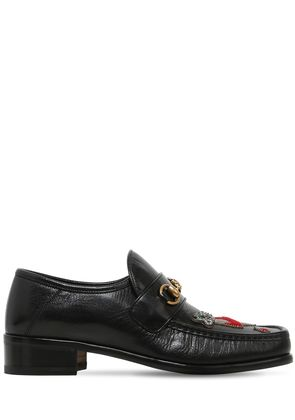 VEGAS EMBROIDERED PATCH LEATHER LOAFERS