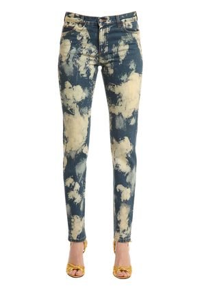 ANGRY CAT PATCH BLEACHED DENIM JEANS