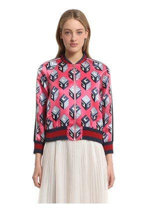 GG WALLPAPER SILK DUCHESSE BOMBER JACKET