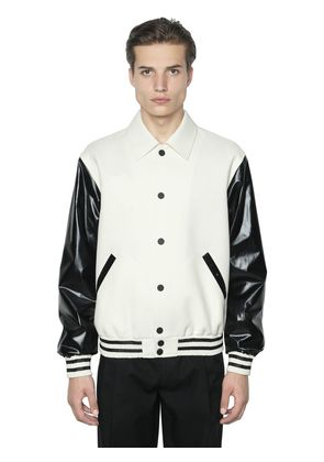 FAUX LEATHER & WOOL BOMBER JACKET