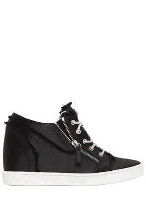 80MM FRINGED SATIN WEDGED SNEAKERS