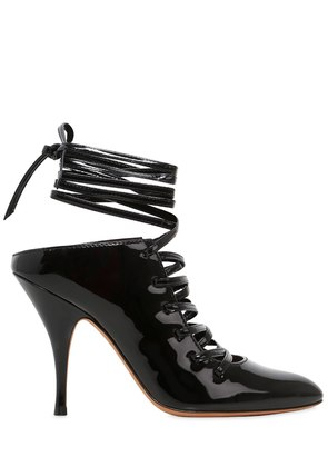 100MM PATENT LEATHER LACE-UP MULES