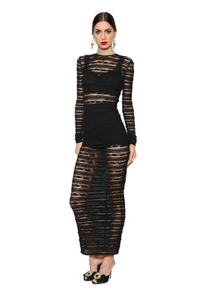 SEE-THROUGH STRIPES LACE STRETCH DRESS