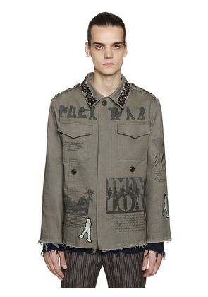 EMBELLISHED COTTON CANVAS FIELD JACKET