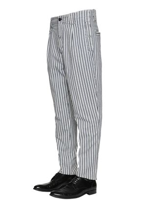 PINSTRIPED COTTON CHINO PANTS