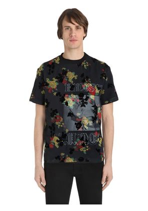 OVERLAY PRINTED COTTON JERSEY T-SHIRT