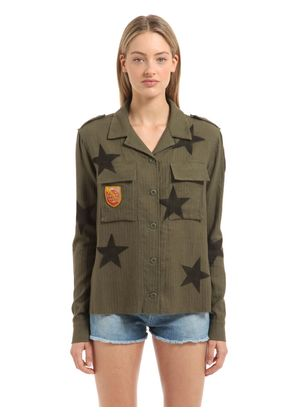 EMBELLISHED STARS PRINTED MILITARY SHIRT