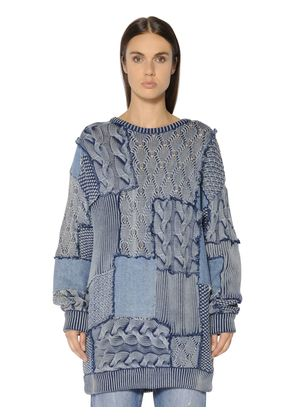 PATCHWORK COTTON KNIT & DENIM SWEATER