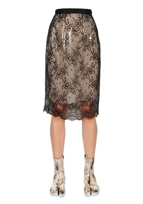 LAYERED FLORAL LACE & PVC SKIRT