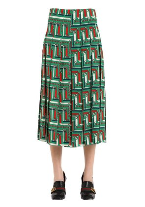 CHAINS PRINTED PLEATED SILK CADY SKIRT