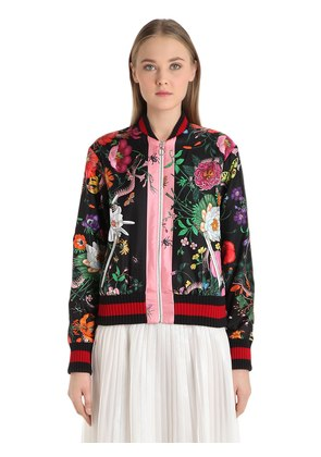 FLORAL PRINTED SILK TWILL BOMBER JACKET