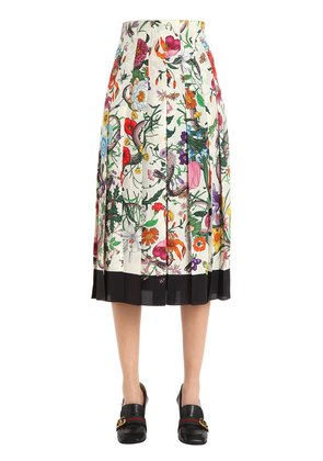 FLORAL PRINTED PLEATED SILK CREPE SKIRT