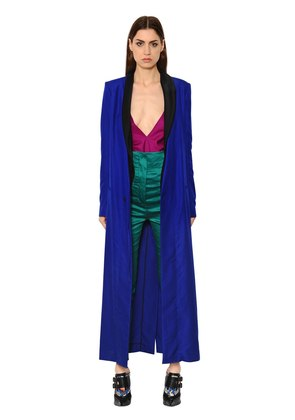 WRAP SILK PIQUE LONG COAT