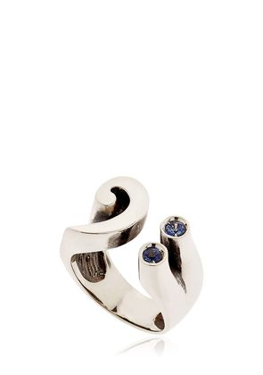BASS KEY STERLING SILVER & SAPPHIRE RING