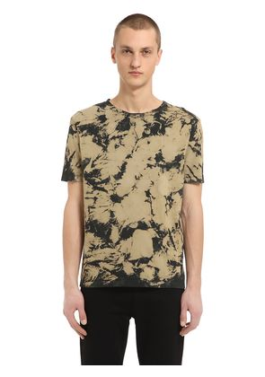 DESTROYED BLEACHED COTTON JERSEY T-SHIRT